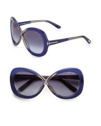 Tom Ford | Blue Margot Oversized Twotone Sunglasses | Lyst