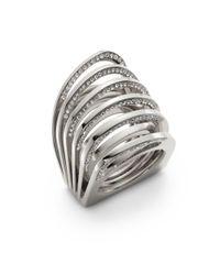 Vita Fede Metallic Futuro Pavã© Crystal Cut Ring/silvertone