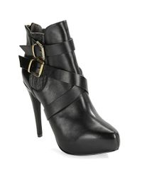 Charles by Charles David - Black Fame Buckle Platform Booties - Lyst