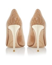 Dune Natural Brook Leather Pointed Toe Stiletto Court Shoes