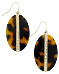 Lauren by Ralph Lauren | Multicolor Gold-Tone Oval Tortoise Disc Drop Earrings | Lyst