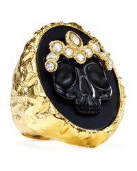 Alexis Bittar Metallic Elements Black Agate Skull Cameo Ring