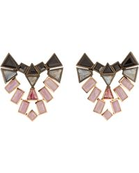 Nak Armstrong | Pink Mixed-gemstone Shield Stud Earrings | Lyst