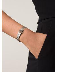 Eddie Borgo Metallic Clear Pave Cone Leather Bracelet