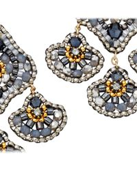 Miguel Ases Gray Grey Hematite Triple Drop Earrings