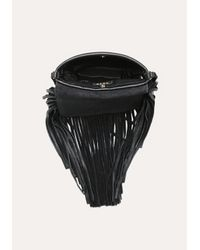 Bebe Black Jamila Fringe Leather Bag