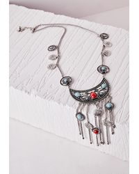 Missguided Metallic Boho Bead Charm Necklace Silver