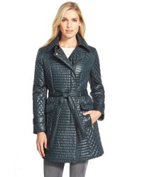 Via Spiga - Green Belted Asymmetrical Quilted Trench Coat - Lyst