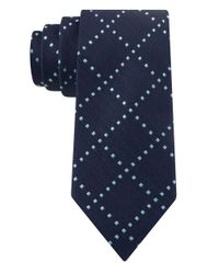 William Rast | Blue Silk Square-Check Tie for Men | Lyst