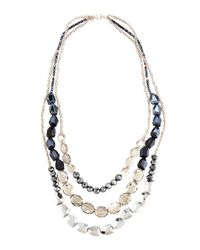 Lydell NYC - Metallic Silvertone Layered Triple-strand Gray Crystal Necklace - Lyst