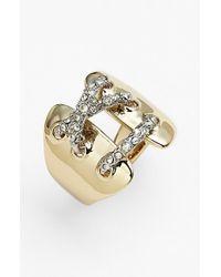 Alexis Bittar | Metallic 'miss Havisham' Encrusted Crisscross Ring | Lyst
