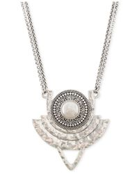 Lucky Brand | Metallic Silver-tone Freshwater Pearl Tribal Pendant Necklace | Lyst
