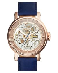 Fossil - Pink 'boyfriend' Skeleton Dial Leather Strap Watch - Lyst
