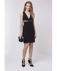 TOPSHOP | Black Petite V-neck Lace Midi Dress | Lyst