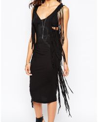Aka | Black Body-conscious Dress With Fringe Detail | Lyst