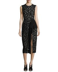 Cushnie et Ochs - Black Dot-print Ruffled Slit Dress - Lyst