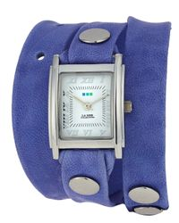 La Mer Collections - Purple Washed Leather Wrap Watch - Lyst