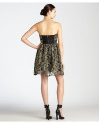 Alice + Olivia - Metallic Black And Gold Mesh Sheer Back Strapless 'caryn' Bustier Flare Dress - Lyst