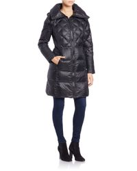 BCBGeneration - Black Quilted Zip-front Coat - Lyst