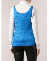Ralph Lauren Black Label Blue Cable Knit Tank Top
