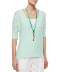 Eileen Fisher - Green Half-sleeve Slub Links Box Top - Lyst