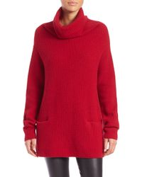 Vince | Red Front Pocket Cashmere Turtleneck Sweater | Lyst