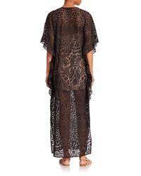 BCBGMAXAZRIA Black Dameka Printed Mesh Maxi Dress