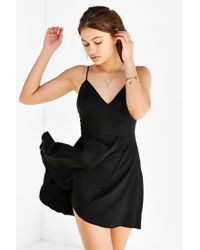 Silence + Noise Black Buffy Sateen Fit + Flare Dress