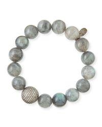 Sheryl Lowe - Metallic 12mm Labradorite & Pave Diamond Bead Bracelet - Lyst