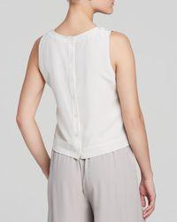Eileen Fisher - White Silk Round Neck Crop Shell Top - Lyst