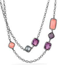 David Yurman - Metallic Chatelaine Necklace With Guava Quartz, Rose Quartz & Amethyst - Lyst