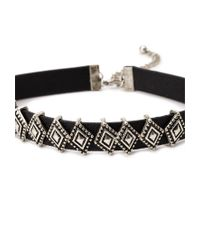 Forever 21 | Black Etched Diamond Pendant Faux Leather Choker | Lyst
