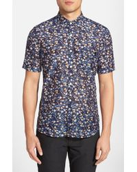 French Connection Blue 'monet Freedom' Trim Fit Short Sleeve Sport Shirt for men