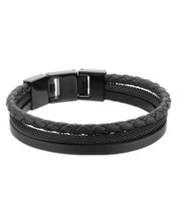 Fossil | Black Multi Strand Materials Bracelet for Men | Lyst