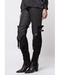 Topshop Cowboy Fringe High Leg Boots in Black | Lyst