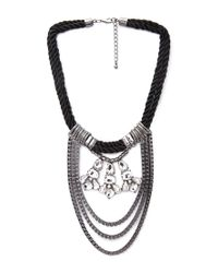 Forever 21 - Black Pretty Tough Draped Chain Necklace - Lyst