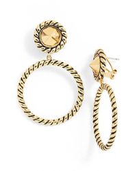 Rachel Zoe - Metallic 'leyla' Rope Textured Hoop Earrings - Lyst