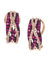 Effy Red Ruby, Diamond And 14k Rose Gold Earrings
