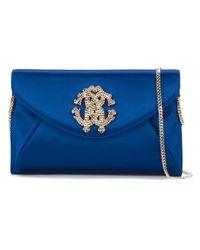 Roberto Cavalli   Blue Embellished Logo Envelope Clutch   Lyst
