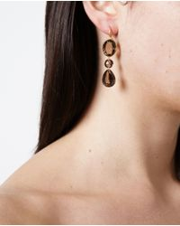 Marie-hélène De Taillac | Metallic 22k Yellow Gold And Smokey Quartz Earrings | Lyst