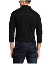 BOSS Green - Black Slim-fit, Long-sleeved Polo Shirt In Cotton Blend: 'pleesy 2' for Men - Lyst