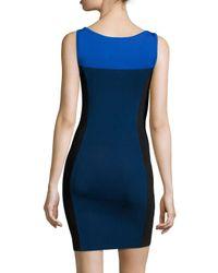 Halston | Blue Sleeveless Colorblock Sweater Dress | Lyst