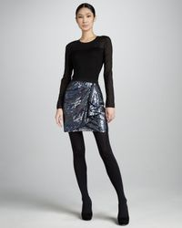 Donna Karan | Blue Draped Sequined Skirt | Lyst