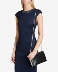 Ted Baker - Black Exotic Colored Leather Clutch - Lyst