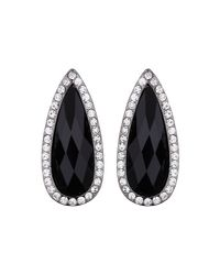 Mikey - Black Slim Oval Marquise Stud Earring - Lyst