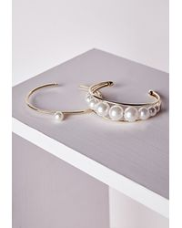 Missguided - Metallic Pearl Detail Bracelet Set Gold - Lyst