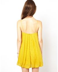 Traffic People | Yellow Anchors and Stripes Silk Shift Dress | Lyst