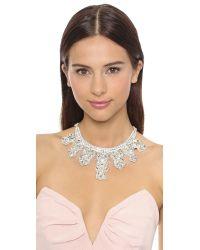 Deepa Gurnani Metallic Crystal Statement Necklace - Ivory