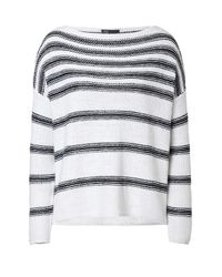 Vince | Blue Striped Linen Pullover | Lyst