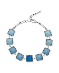 T Tahari - Metallic Silvertone Blue Stone Linked Flex Bracelet - Lyst